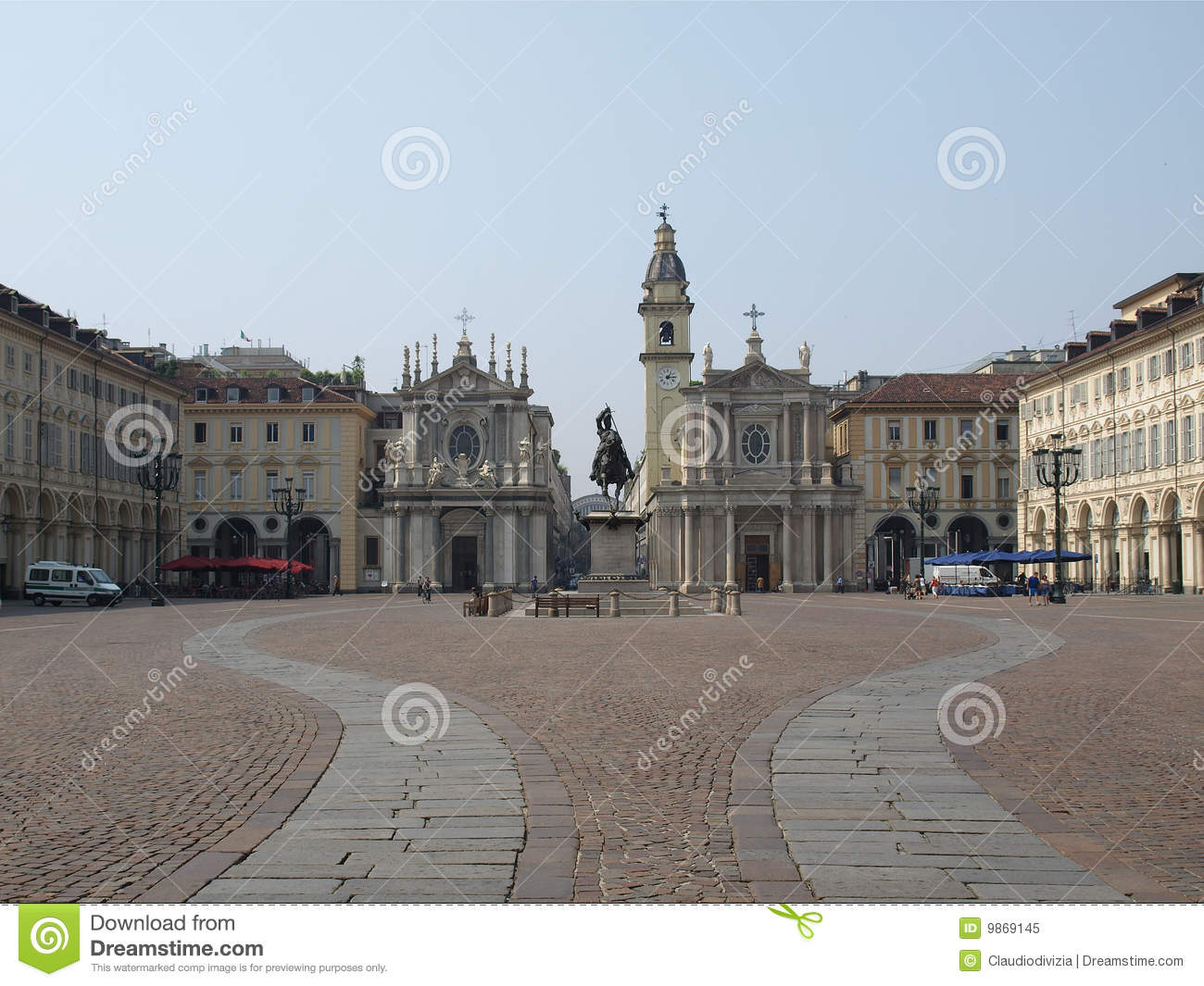 Piazza San Carlo In Turin Royalty Free Stock Photos.