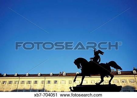 Stock Photography of Italy, Piedmont, Turin, Piazza San Carlo.