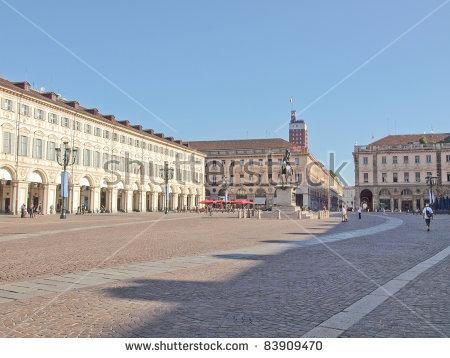 Piazza San Carlo In Turin (Torino) Baroque Architecture Stock.