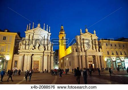 Stock Images of Piazza San Carlo square central Turin city.