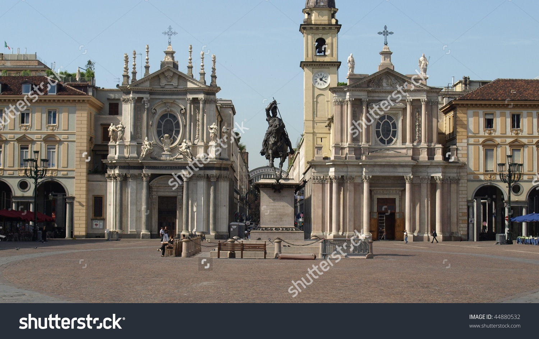 Piazza San Carlo Royal Square In Turin (Torino), Italy.