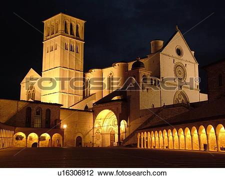 Stock Photo of Assisi, Umbria, Italy, Europe, Basilica di San.