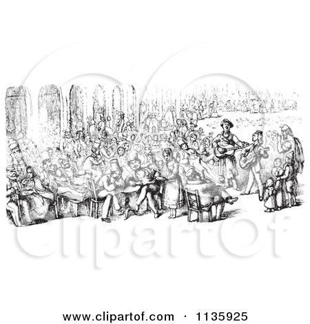 Clipart Of A Retro Vintage Crowd In Piazza San Marco In Black And.