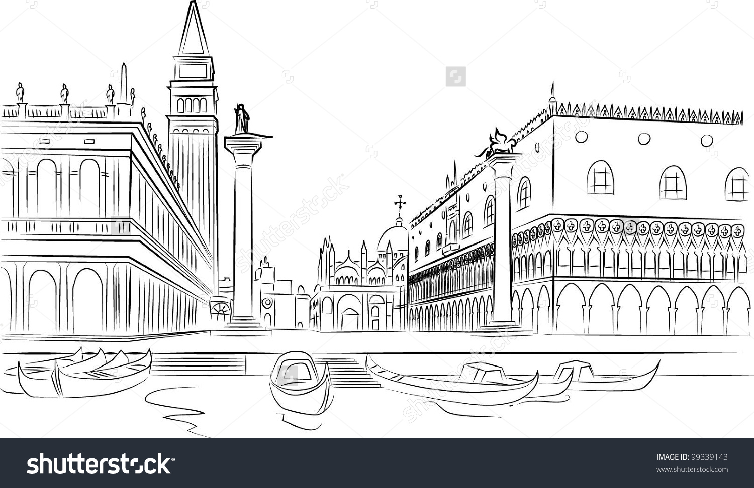Piazza San Marco Campanile Doge Palace Stock Vector 99339143.