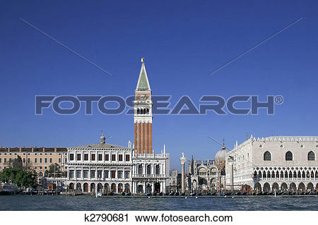 Stock Photography of san marco tower, piazza san marco and the.