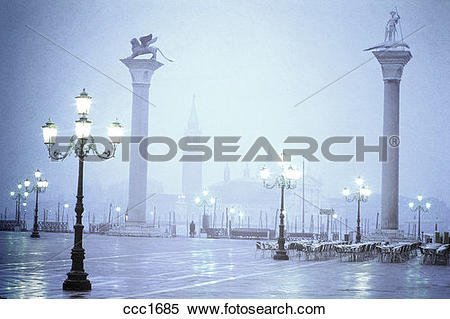Stock Image of Italy Venice Piazzetta San Marco in fog at dawn.