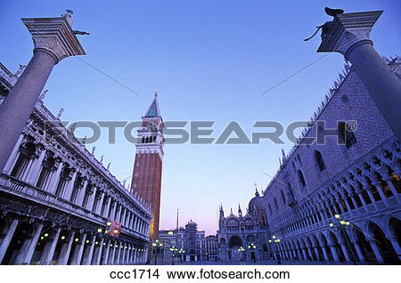 Stock Photo of Italy Venice Piazzetta San Marco and the Campanile.