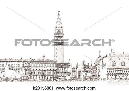 Clipart of Piazzetta San Marco Venice k20156861.