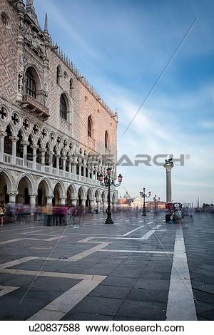Pictures of View of the Piazzetta at sunset, with motion blur of.