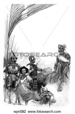 Clip Art of 16th Century Soldiers: Regiment of Picardy, Drummer of.