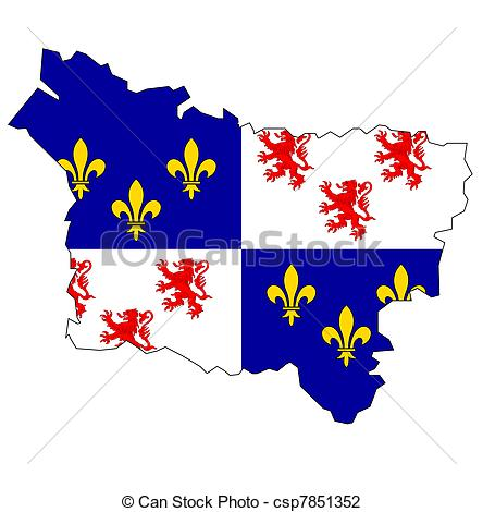 Clip Art of map with flag of picardy.