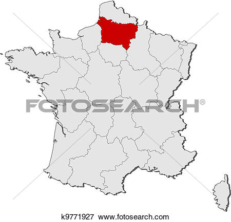 Clip Art of Map of France, Picardy highlighted k9771927.