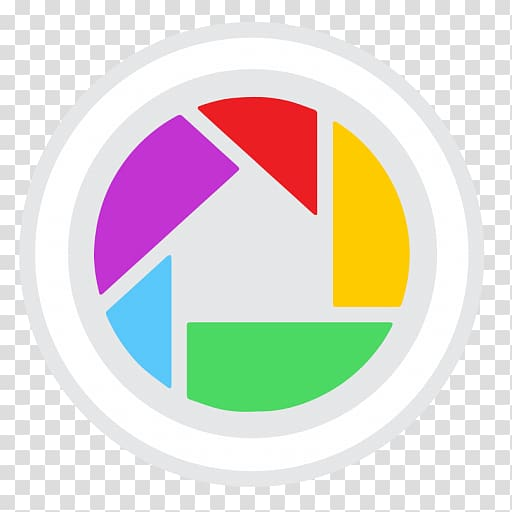 Round white and multicolored logo, brand logo, Google Picasa.