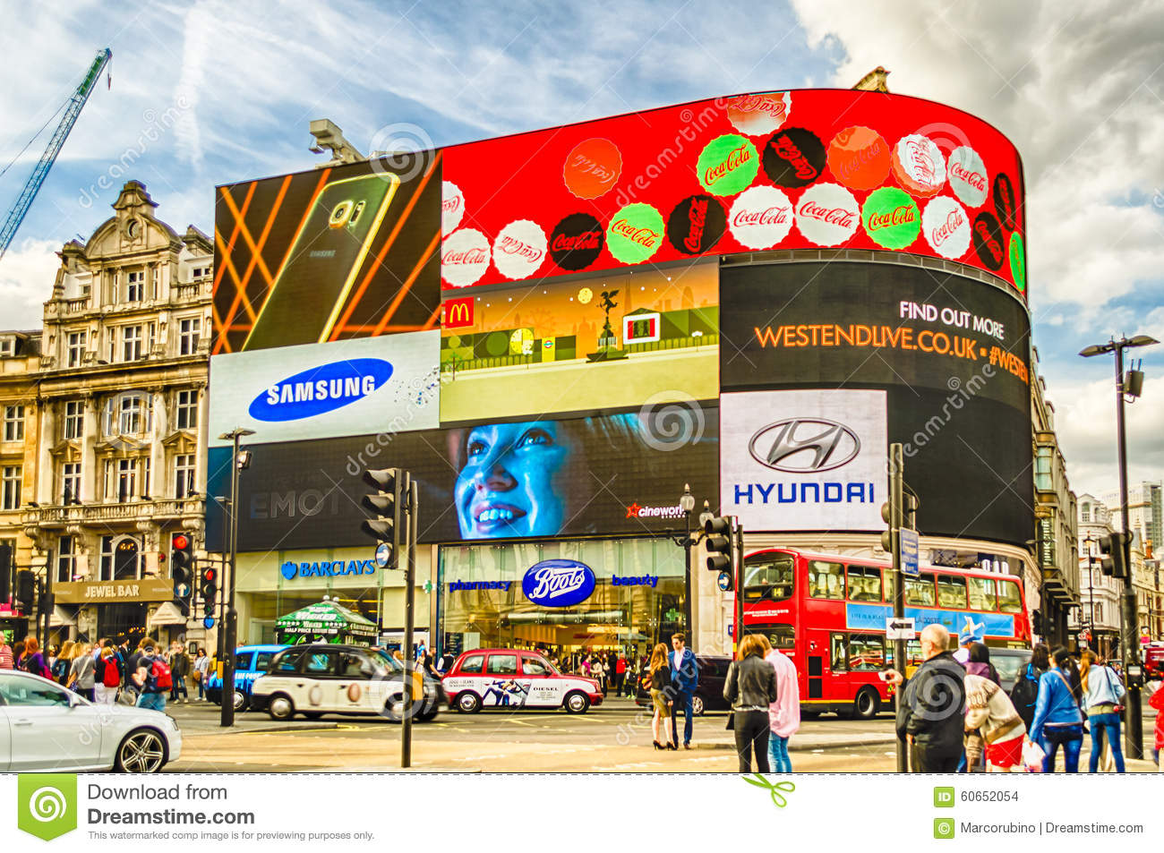 Illuminated Signs In Piccadilly Circus, London Editorial Stock.