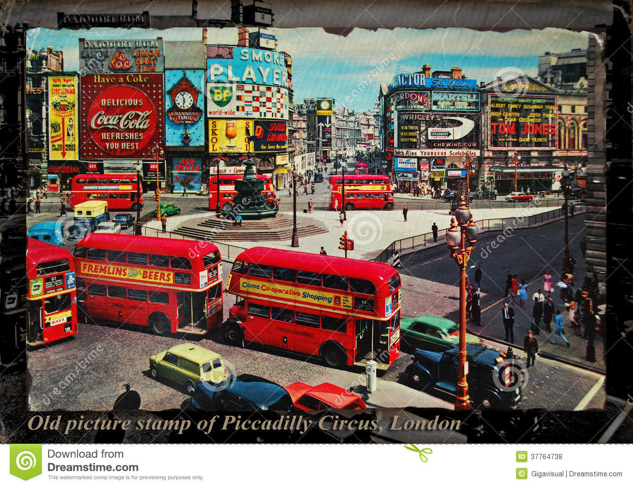 Old Picture Stamp Of Piccadilly Circus London Editorial Stock.
