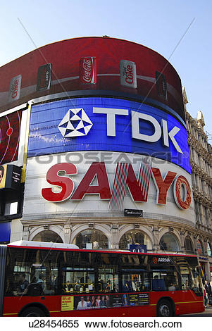Stock Image of England, London, Piccadilly Circus. A view up.