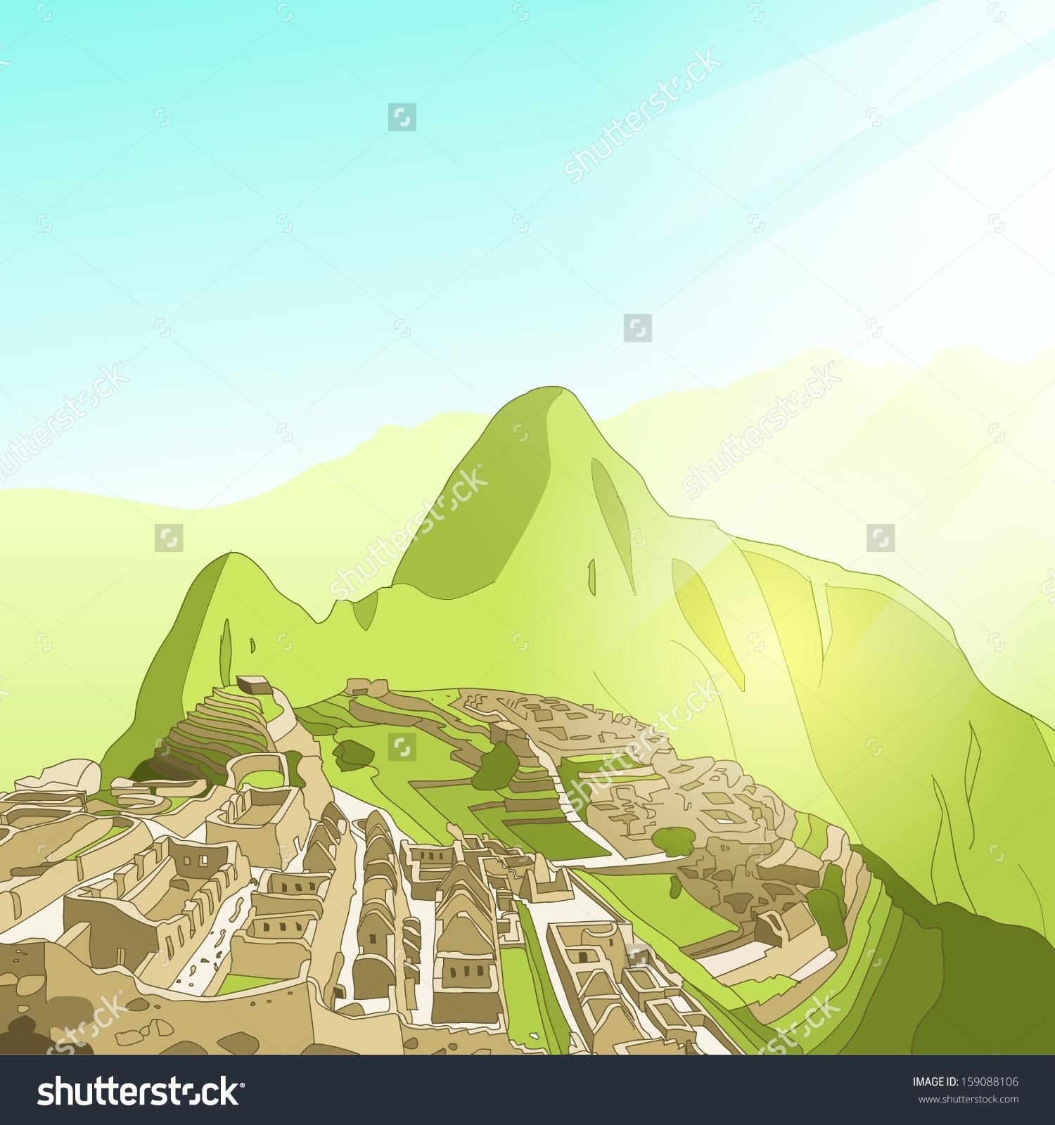 Machu Picchu Landscape Clip Art.