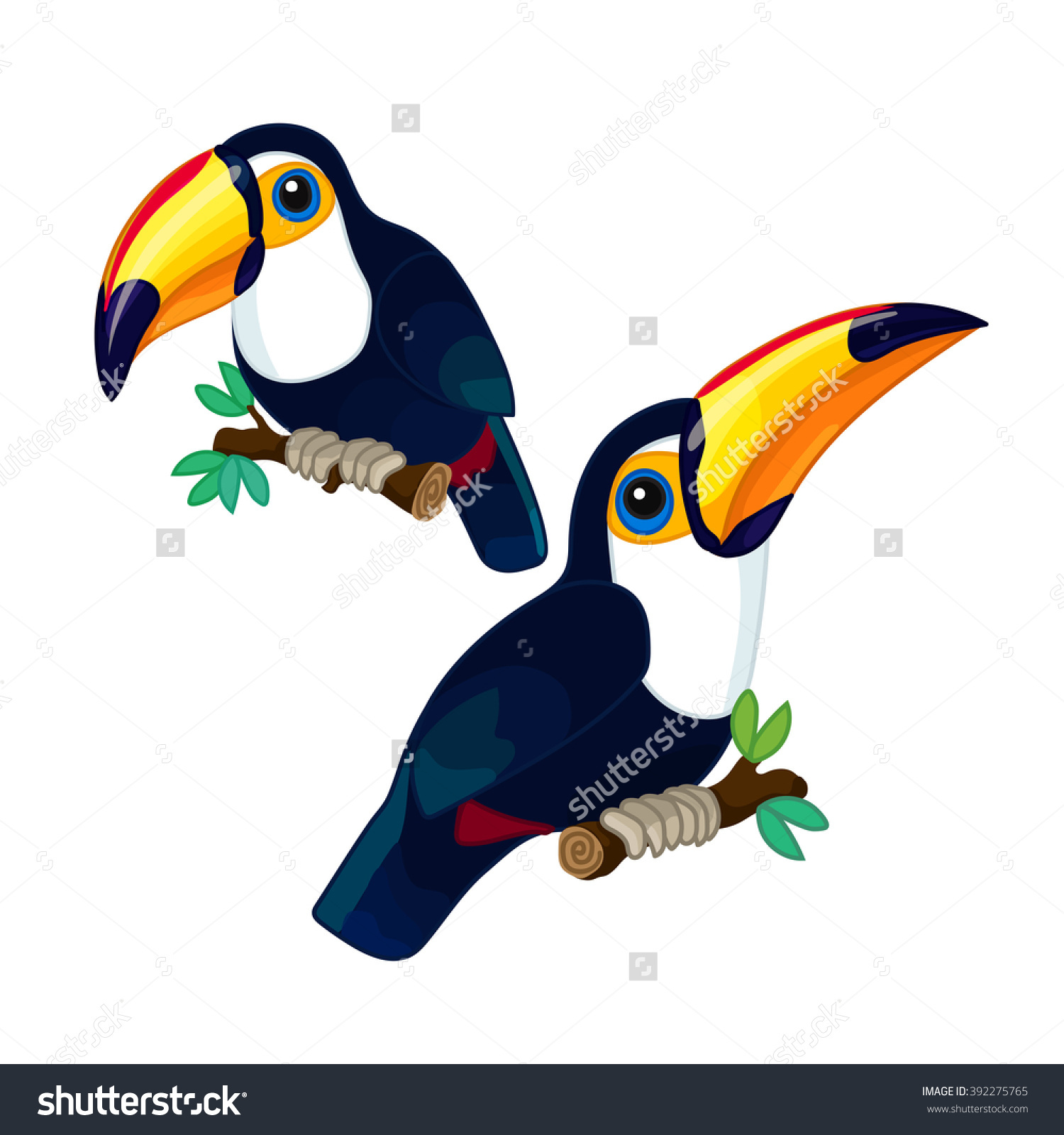 Vector Cartoon Illustration Toco Toucans With Branch Trees. Clip.