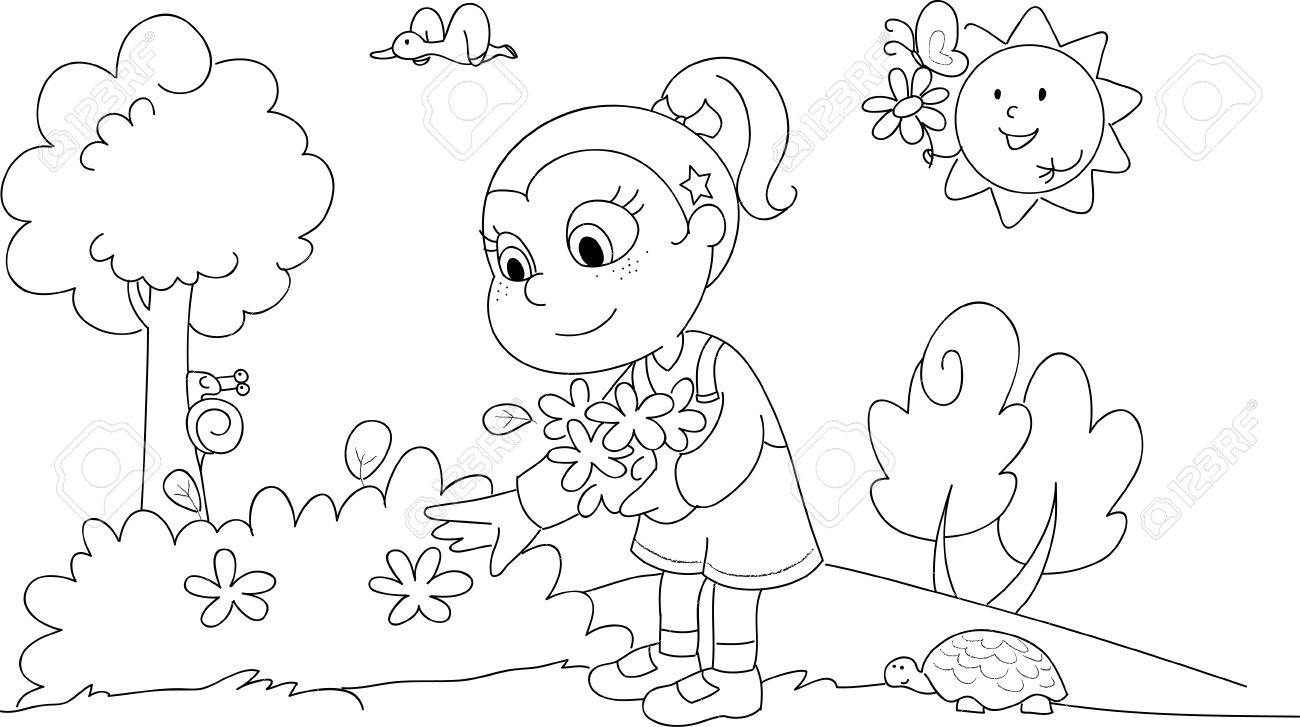 Picking flowers clipart black and white 1 » Clipart Station.