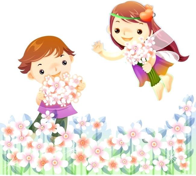 girl with flowers clipart.