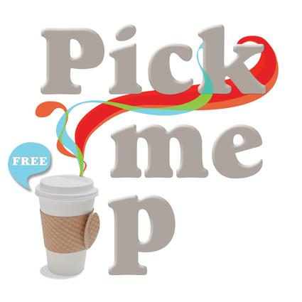 "Graphic identity for the ""Pick me up event""."