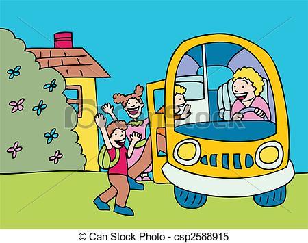Clipart Vector of school bus cartoon of children, driver picking.