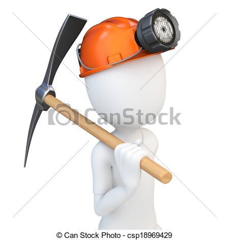 Man with pickaxe clipart.