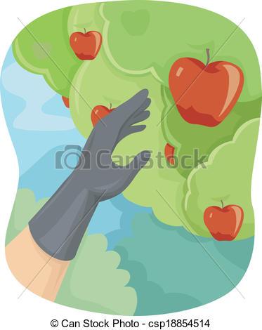 Vector Clip Art of Apple Picking.