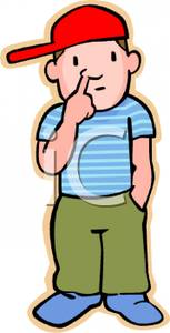 Clipart picking nose.