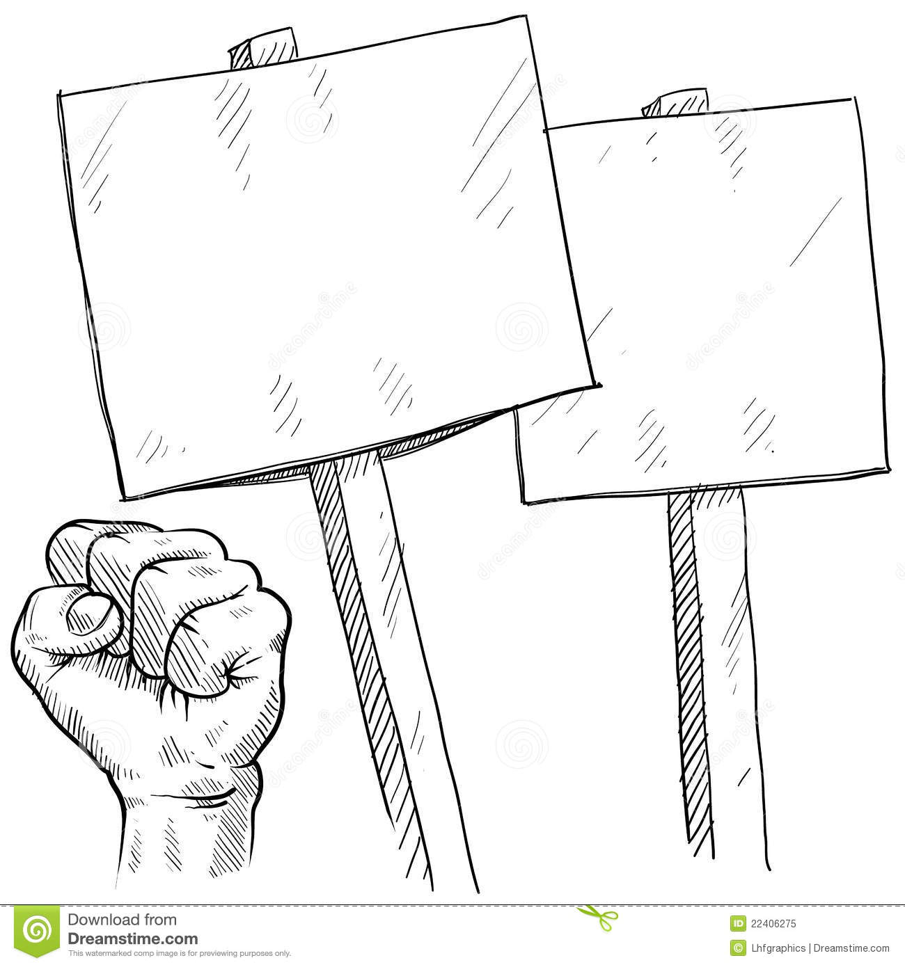 Picket Sign Clipart.