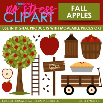 Fall Apple Picking Clip Art (Digital Use Ok!).