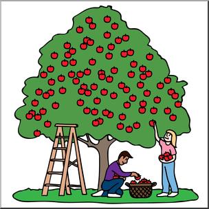 Clip Art: Kids Picking Apples 01a Color.