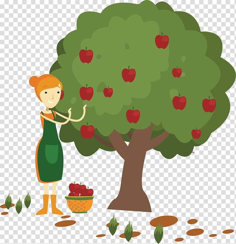 Apple Fruit picking , painted apple.