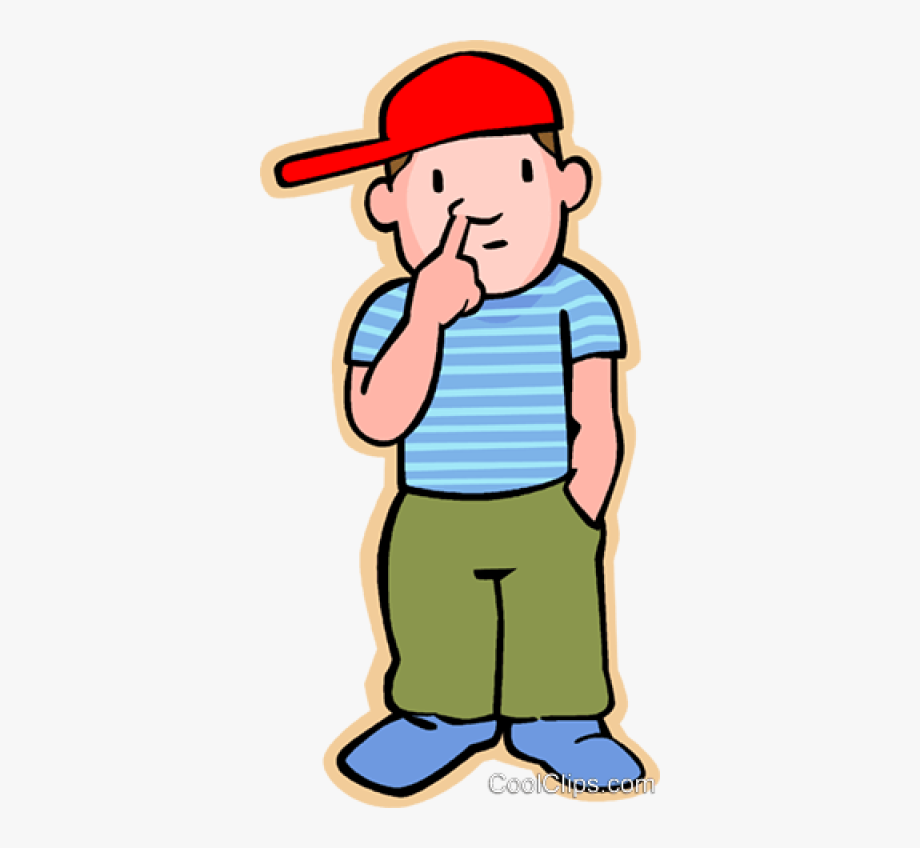 Little Boy Picking His Nose Royalty Free Vector Clip.