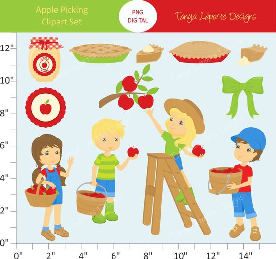 Apple Picking Clipart Set.