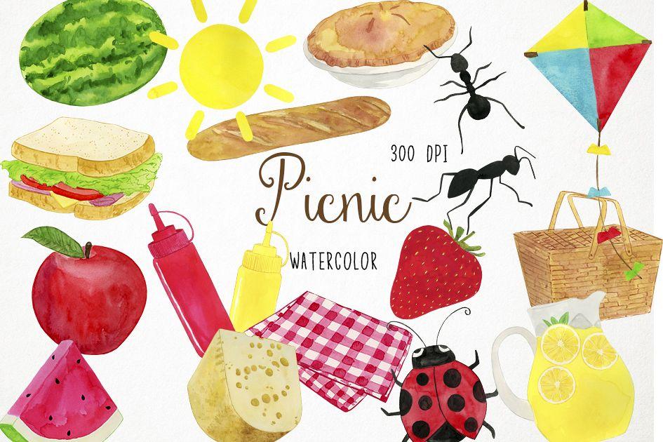 Watercolor Picnic Clipart, Picnic Clip Art, Picnic PNG.