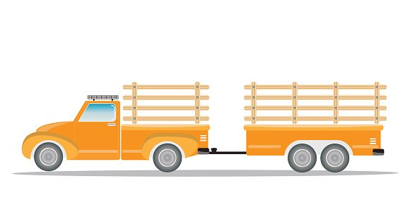 Old Pick up Truck with Trailer truck Clipart Image.