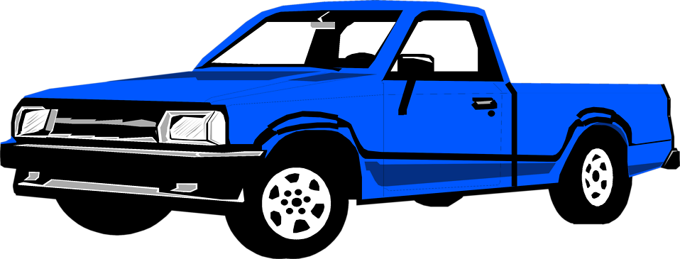 Blue Pickup Truck Clipart.