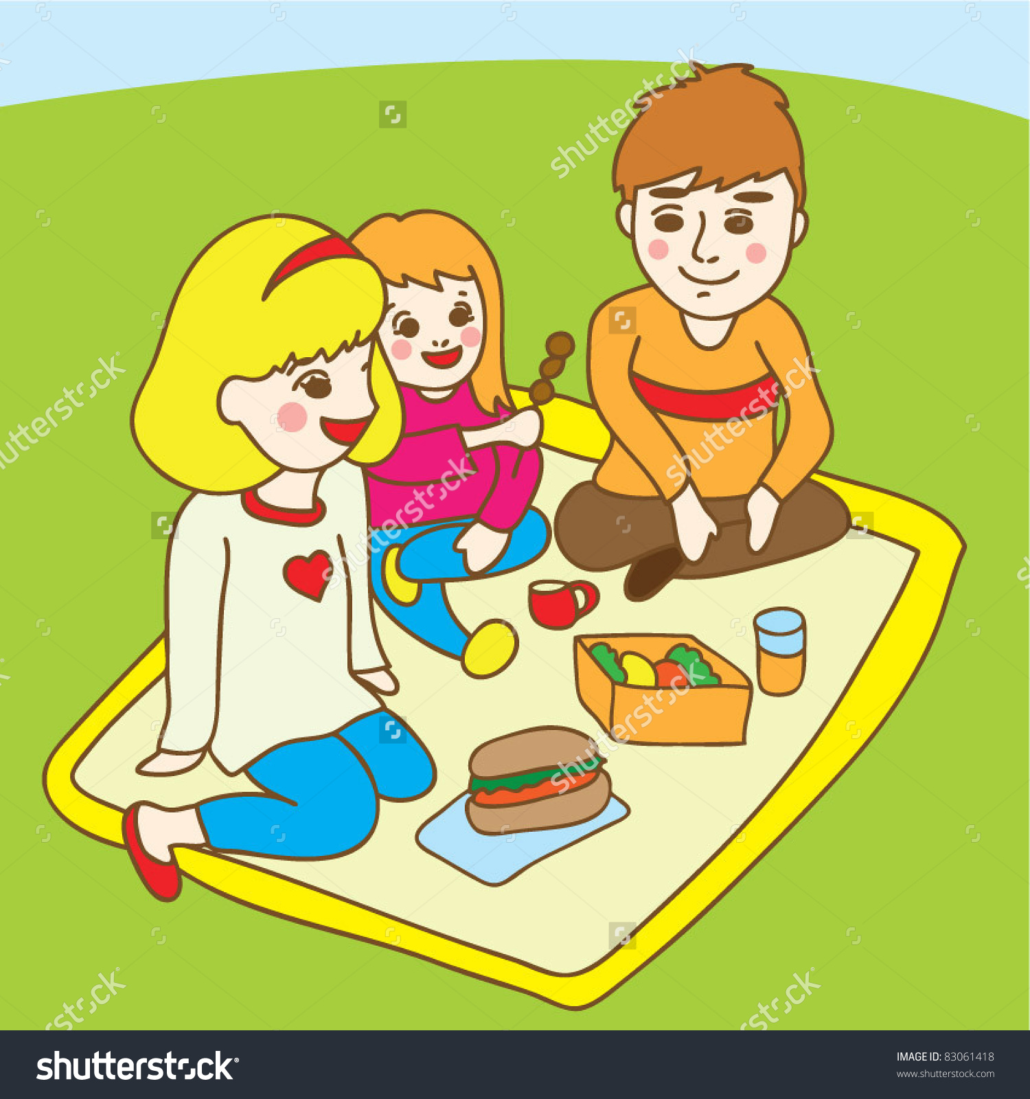 picnic at park table clipart #17