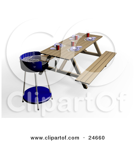 picnic at park table clipart #19