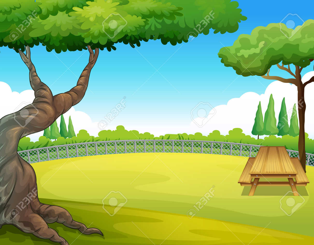 picnic at park table clipart #6