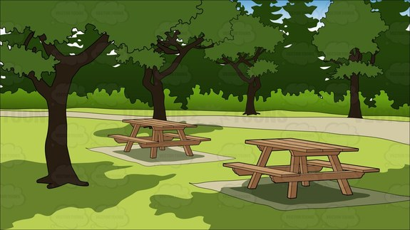 Picnic Tables In A Park Background Cartoon Clipart.