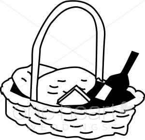 Black and White Picnic Basket Clipart.