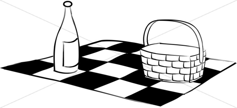 Black and White Picnic Blanket Basket and Wine.