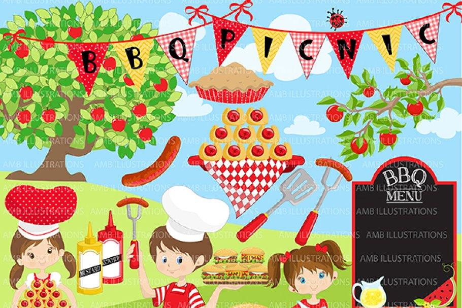 BBQ Party, Picnic, Clipart AMB.