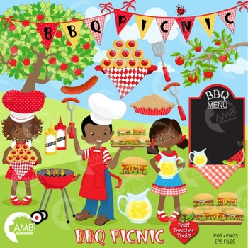 BBQ Clipart, Barbecue Clipart, Picnic clipart, African American Clipart,  AMB.