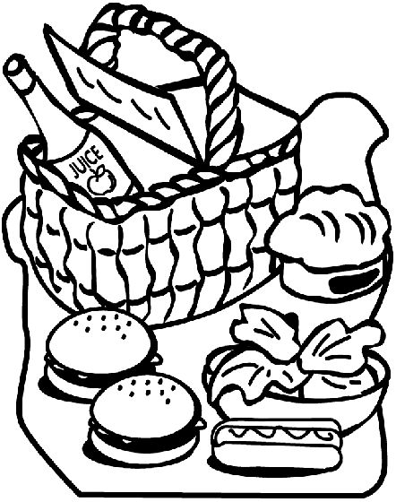 Picnic Basket Clipart Black And White.