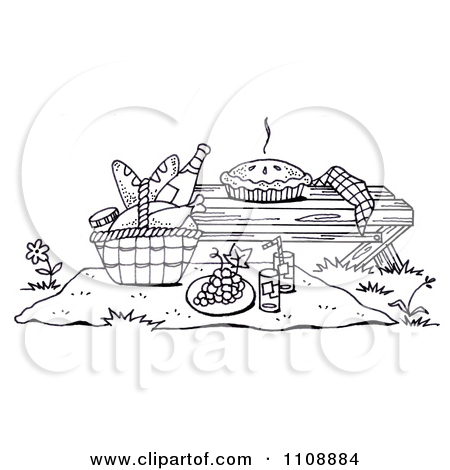 Picnic Food Clipart Black And White.