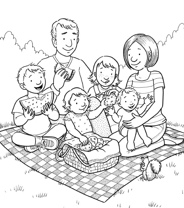 Picnic Clipart Black And White.