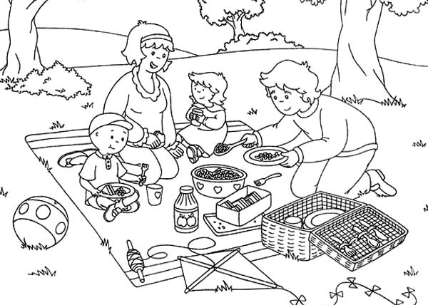 Family Picnic Clipart Black And White.